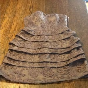 Adrianna Papell 10P taupe ruffled strapless dress